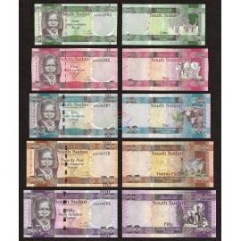 South Sudan 1, 5, 10, 25, 50 Pounds Set 5 PCS, 2011, P-5, 6, 7, 8, 9, UNC