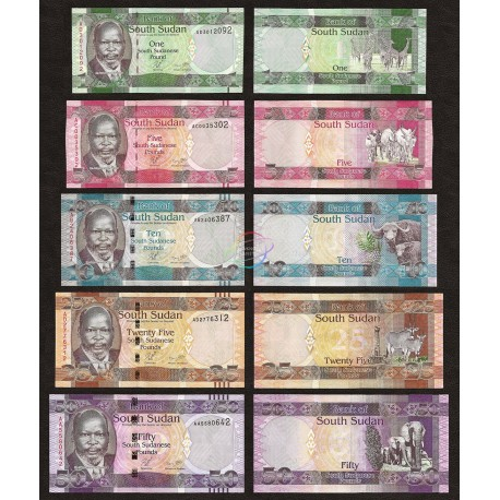 South Sudan 1, 5, 10, 25, 50 Pounds Set 5 PCS, 2011, P-5, 6, 7, 8, 9, UNC