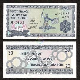 Burundi 20 Francs, 1973, P-21b, UNC