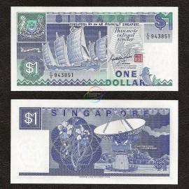Singapore 1 Dollar, 1987, P-18a, UNC