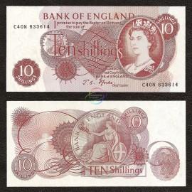 Great Britain 10 Shillings, QE II, 1966-70, P-373c, UNC