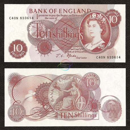 Great Britain 10 Shillings, QE II, 1966-70, P-373c, UNC