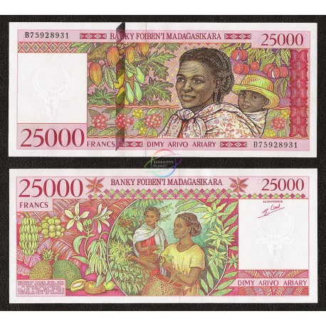 Madagascar 25,000 Francs, 1998, P-82, UNC