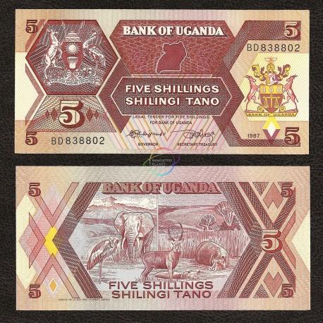 Uganda 5 Shillings, 1987, P-27, UNC