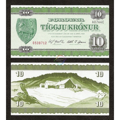 Faeroe Islands 10 Kronur, 1971, P-16a, UNC