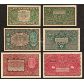 Poland 5, 10, 20 Marek Set 3 PCS, 1919, P-24, 25, 26, AU