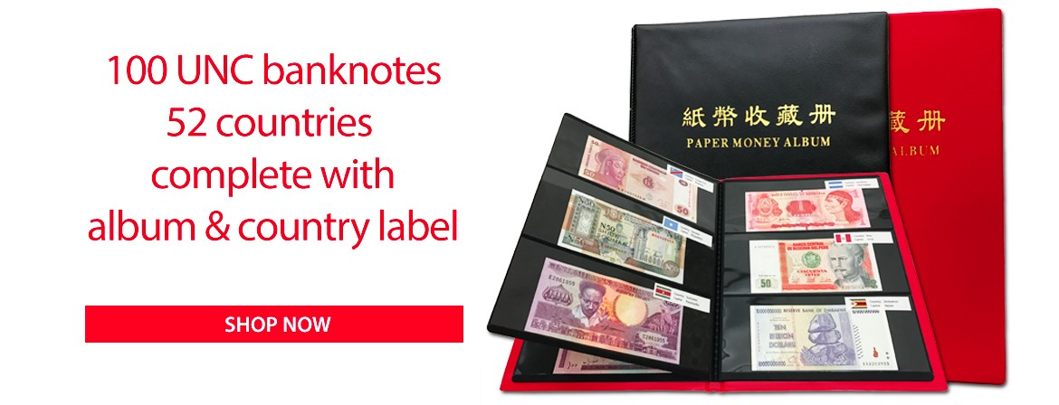 100 PCS Different Banknotes from 52 Countries UNC Album Set