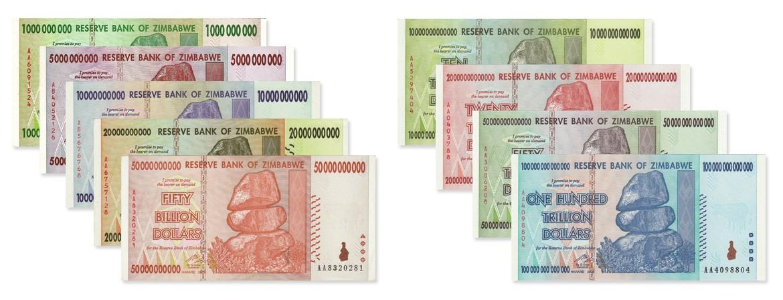Zimbabwe 1, 5, 10, 20, 50 Billion & 10, 20, 50, 100 Trillion Dollars