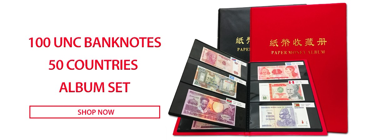 100 PCS Different Banknotes from 50 Countries UNC Album Set